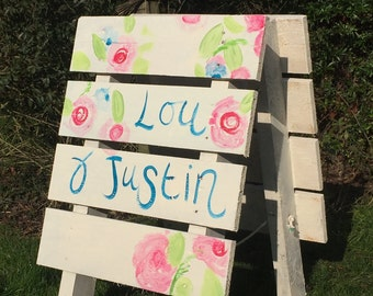 Chic Recycled Wooden Wedding Sign, Free Standing & Hand Painted