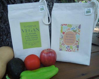 Recycled cotton lunch bag - Canvas lunch bag - Gender neutral lunch bag - Vegan - no animals were harmed