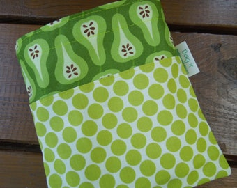 Reusable sandwich bag - Fabric sandwich bag - Large snack bag - Zero waste sandwich bag - Pears