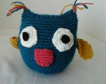 Amigurumi owl  Crocheted baby toy  Crib toy  Baby shower gift  Softie owl