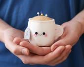 White Teacup Pincushion
