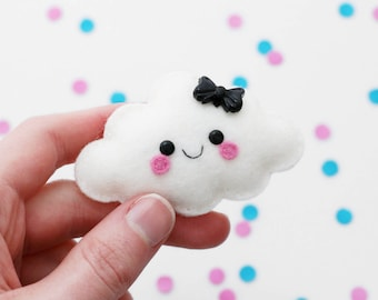White Cloud Felt Brooch, Weather Accessory, Cute Pin