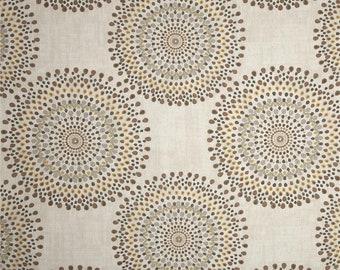 Pair of designer curtain panels drapes, Magnolia carousel sand, cotton neutral tone drapes