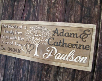 Personalized wedding gift Personalized Sign Family Last Name Signs CARVED Wooden Sign Wedding Established tree sign Custom Wood