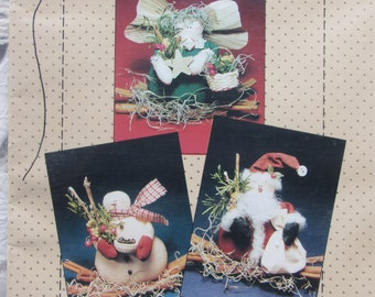 TIS The Season/Craft Pattern by Country Stitches/Make 4 1/2 in Angel, Santa and Snowman/Christmas Ornament/Decoration/1992
