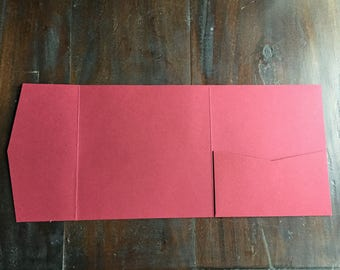 Red Square Pocket Invitation, Pocketfold, Wedding Invitation, Matte, DIY - 50 pcs
