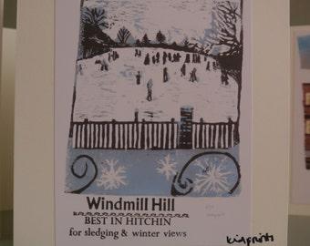 Hitchin Print Card: Windmill Hill in Winter- Lino and Letterpress Print