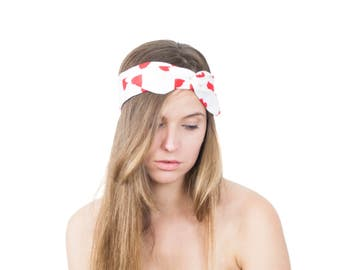 50% OFF Flexible Wire Scarf Red Heart Print Cute Hair Accessories Convertible Hairband Red and White Bandana