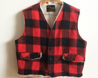Vintage 70s Buffalo Check Sherpa Lined Winter Vest sz M-L