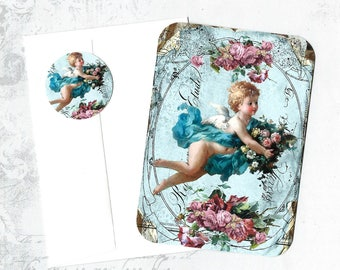Note Cards, Cherub, Roses, Vintage Style, Note Card Set, Stickers
