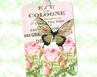 Tags, Gift Tags, French Butterfly, Party Favors, Roses, Butterfly Tags