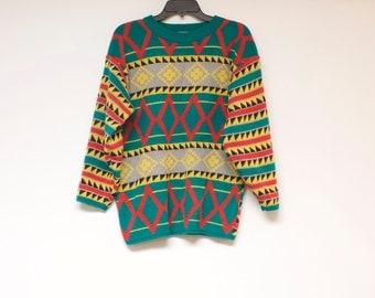 Vintage colorful aztec print sweater - unisex size medium by Genesis