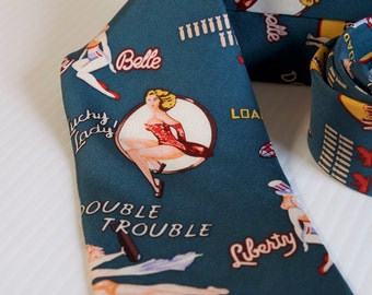Vintage Mens Pin up Girl necktie by Smithsonian - Trouble Double - Lucky Lady - Morning Raid - Loaded Dice