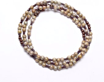 Beaded Necklace, Winter Whites, Wrap Bracelet, Handcrafted Jewelry