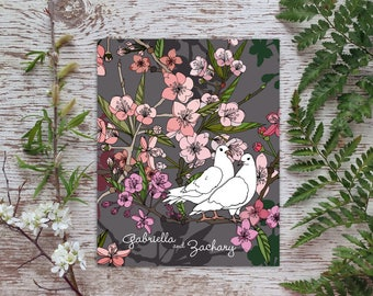 Love Birds, personalized art print, shower gift, cherry blossoms, wedding decor, tree branch,anniversary gift,apple blossom,floral botanical