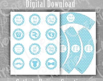 Black Friday Cyber Monday Its A Boy Cupcake Toppers, Cupcake Wrappers, Blue Polka Dots, Baby Shower, Gender Reveal Party, Letter, A4, DIY, D