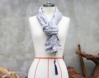 Purple floral scarf with purple beaded tassel charm