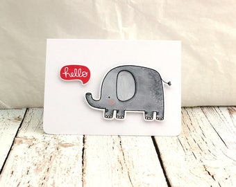 Hello Card, Elephant Hello Card, Cute Elephant Card, Just Saying Hello, Hello Friend, Elephant Friendship Card,