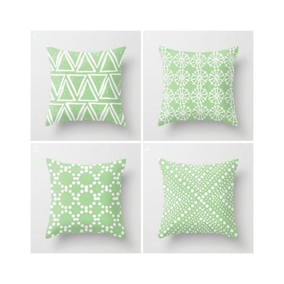 Fern Green Throw Pillow - Modern Throw Pillow - Green Cushion - Decorative Pillow - Geometric White - Throw Pillow 16 18 20 24 inch