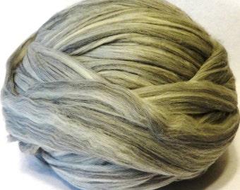 Merino Wool Roving, Grey Merino Roving  -  8oz