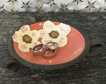 Ceramic Wedding Ring Bowl, with Poppies in Dusky Rose and Brown Stoneware Clay