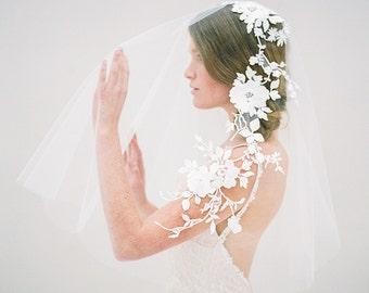 Wedding Veil, Floral Veil, Bridal Veil, Blusher Veil, Ivory Veil, Short Veil, Modern Veil, Embroidered Veil, Nature Inspired - Style 617