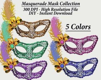 Masquerade Mask Clipart, Mardi Gras Clipart, Masquerade Clipart, Mask Clip Art