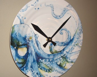 Octopus Wall Clock, 9 Inch SILENT Ceramic Blue Octopus Clock, Coastal Life Clock, Beach House Clock - 2263