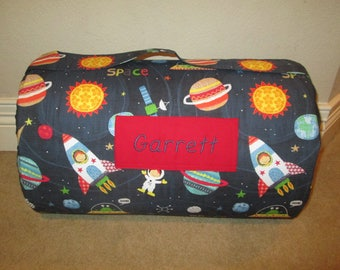 MONOGRAMMED Children THICK COMFY Nap Mat PreSchool Spaced Out Spaceshipts Planets  w/Attached Navy Blue Dotted Minky Blanket Pillow