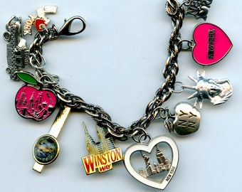 New York City Theme Charm Bracelet From Recycled Items and Collectibles