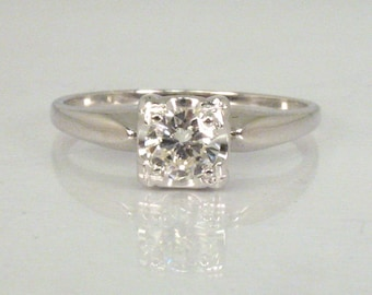 Fine Vintage Diamond Engagement Ring - 0.36 Carat Solitaire Diamond - Appraisal Included