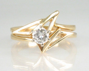 Vintage Estate Diamond Wedding Ring Set - 14K Gold