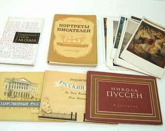 Russian Art Portfolios, Miniature Art Print Postcards, Museum Souvenirs, Set of Six