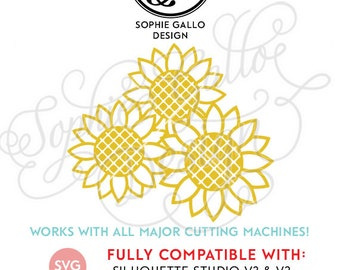 Sunflowers SVG, DXF, PNG digital download files for Silhouette Cricut vector clip art graphics Vinyl Paper Cutting Machine, Screen Printing