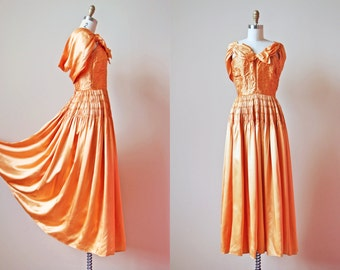 1940s Dress - Vintage 40s Evening Gown - Golden Satin Full Length Gown w Rear Hooded Drape XS - Palace Sweep Dress