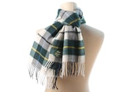 Woven Wool Scarf  Mens SCOTTISH TARTAN Plaid Soft Wool Moss Green White 80s Shawl Fringed Muffle Checked Neck Warmer Mens Boyfriend Gift