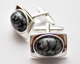 Black and White cufflinks. Cuff Links. Snowflake Obsidian cufflinks. Rectangular cufflinks. Black and white. Gifts For Men. Groom Cufflinks.