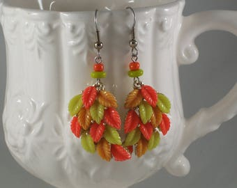 Vintage Multicolor Leaves redesigned assemblage earrings by ceeceedesigns on etsy
