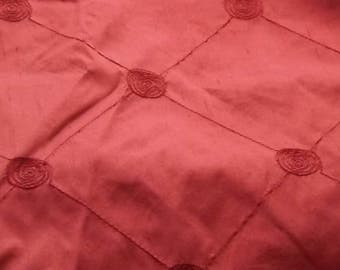 2.20 Metre Length of Red chintz fabric with embroider stitch pattern