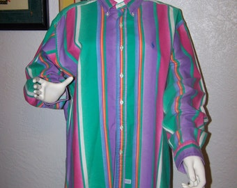 Mens Ralph Lauren Polo Dress Shirt Pastel Striped Size XL Extra Large Cotton Pink Green Purple Gift for Him Spring Summer Casual Fashion