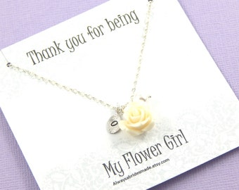 Flower Girl Necklace - thank you gift - Gift Boxed Jewelry Flower Girl Necklace Personalized Flower Girl Gift
