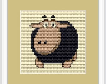 Black Sheep counted Cross stitch kit from Luca-S. Ideal for Beginners.card making