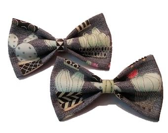 Cactus Bow Tie - Gray Dog Bow - Cat Bowtie - Western Hair Clip