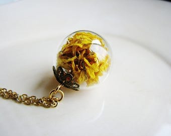 Marigold Necklace, Glass Globe Necklace, Terrarium Necklace, Flowers Preserved Under Glass, Yellow Necklace, Spring Jewelry