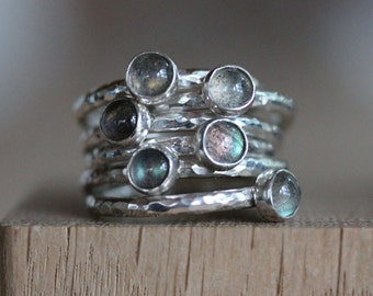 Silver Stacking Ring - Labradorite Silver Stacking Ring - sterling silver ring with iridescent  blue gemstone
