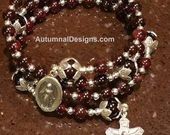 GARNET 5 Decade Rosary Wrap Bracelet, Gemstone Sterling Silver