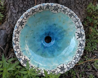 "READY TO SHIP Handmade Ocean Border Sand Dollar Sanddollar Infinity Turquoise Blue Crystalline Glazed Vessel Sink 15"" Diameter 4 1/4"" Deep"