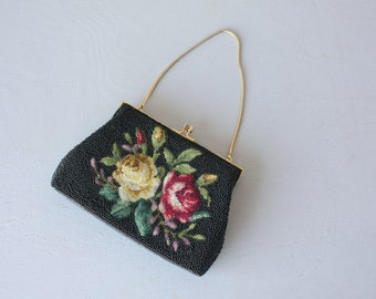 Vintage Tapestry Purse | Beaded Purse | 1950s Tapestry Purse | 50s Purse | Clasp Purse | 1950s Beaded Purse