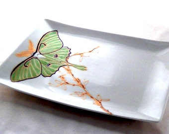 Luna Moth Platter Hand Painted Porcelain Serving Tray Tabletop Accessory