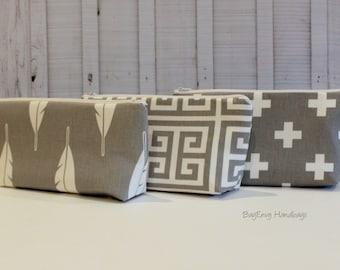 Large Make Up Bag / Diaper Clutch / Bridesmaid Clutch - Feathers - Greek Key- Swiss Cross - You Choose